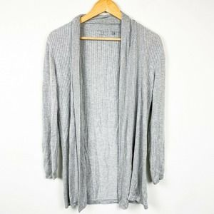 OST Gray Knit Cardigan Open Front Draped Sweater